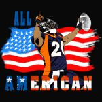 All American Football Touch Down Player blue T