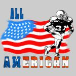 All American Football player 3 blue