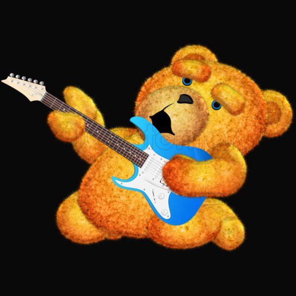 Lazzy Teddy Bear Guitar Jam Blue Eyes 2 Womens Racerback Tank Top