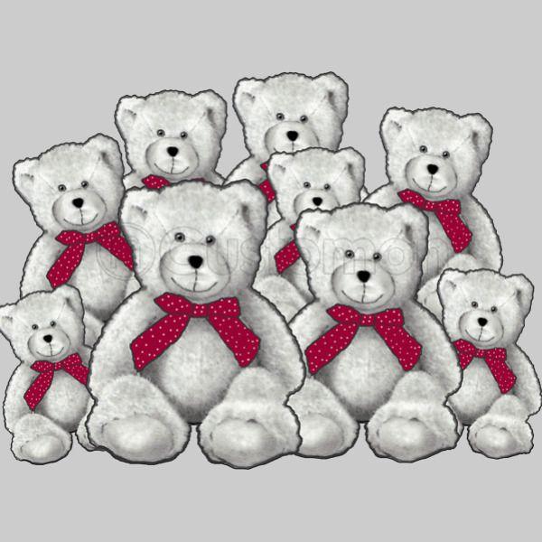 Teddy Bear Group Pencil Art Red Ribbons Kids Tank Top Kidozicom