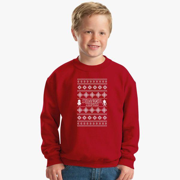 Stranger Things Ugly Christmas Sweater.Stranger Things Ugly Christmas Tee Kids Sweatshirt Kidozi Com