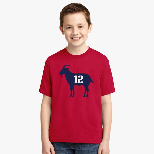outlet store ab117 c7a9c goat tb12 tom Brady Youth T-shirt | Kidozi.com