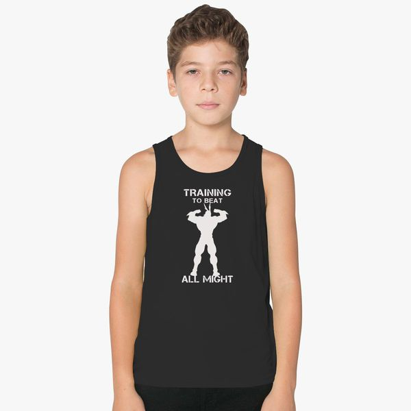 bf3a0259c8752 My Hero Academia training to beat all might Kids Tank Top