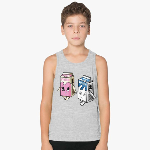 4f4230b713022 milk girl and boy Kids Tank Top | Kidozi.com