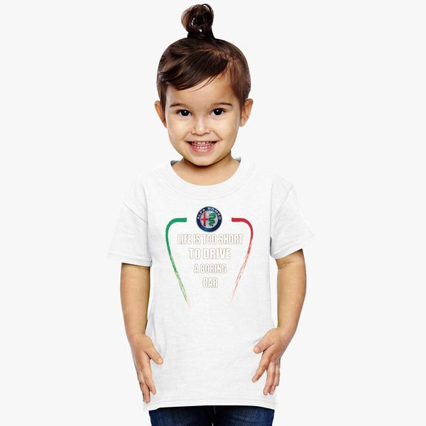 3de082f27ec1 Life is too short to drive a boring car - Alfa TriColore Toddler T-shirt |  Kidozi.com