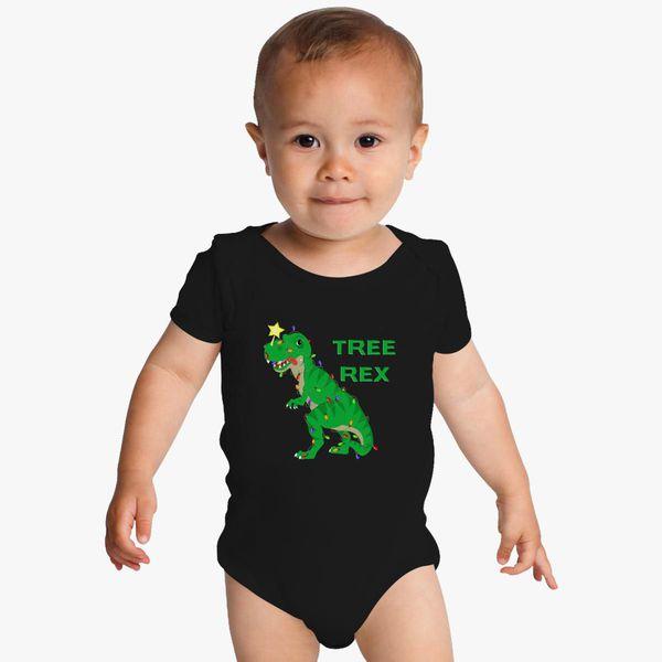 5e38fad038fe3c Christmas Shirt Tree Rex Tyranosaurus T-Rex Baby Onesies   Kidozi.com