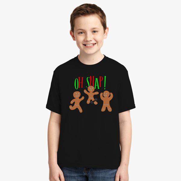 cc6b896d4 Oh Snap Funny Christmas Ginger Bread Man Cookie Youth T-shirt | Kidozi.com