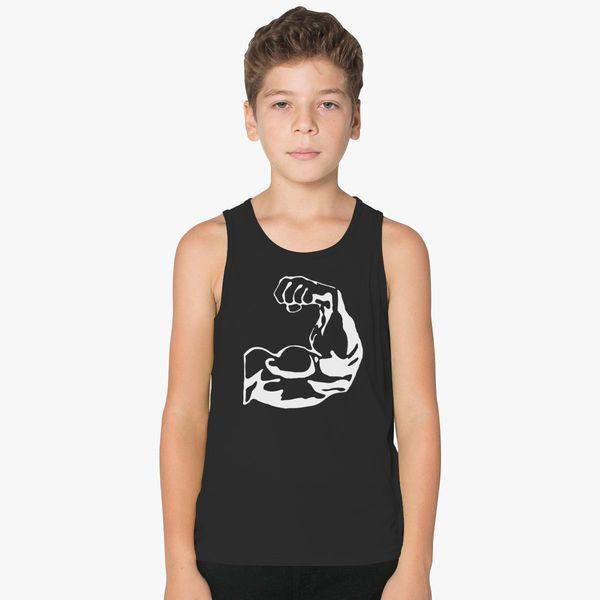 de05b540 Muscles, Bodybuilder, Biceps Kids Tank Top | Kidozi.com