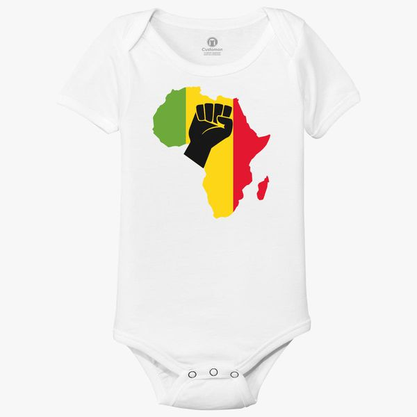 8a0e703f64f28 Africa Black Power Africa Map Fist African Baby Onesies | Kidozi.com
