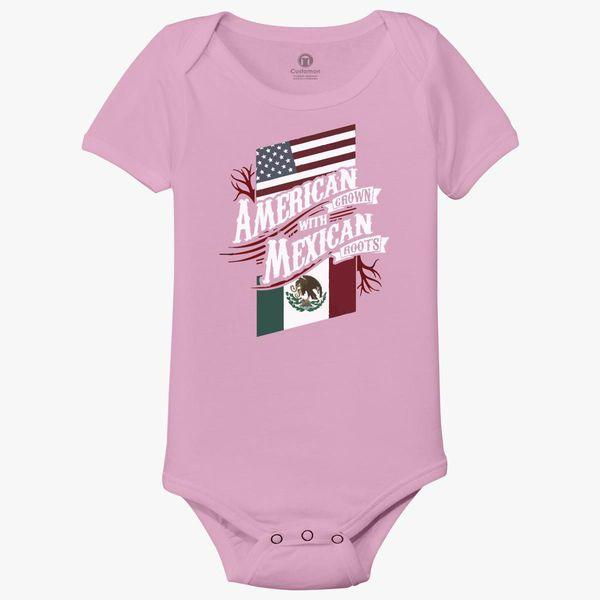 Mexico Eagle Flag Logo Smalls Baby Onesie,Infant Bodysuit Black