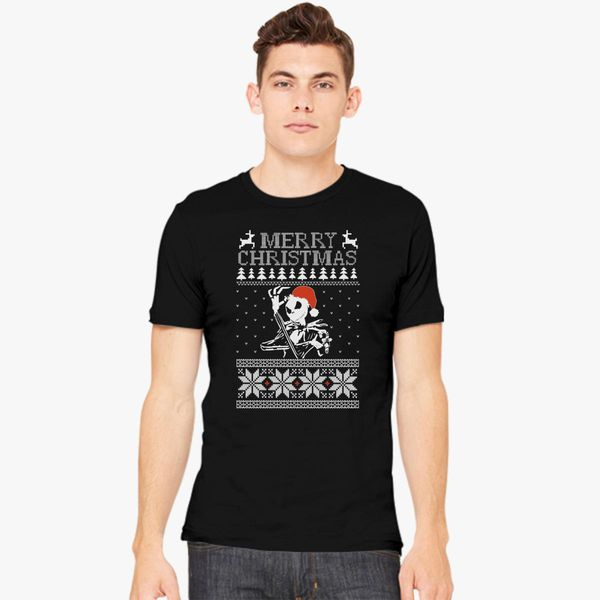 Jack Skellington Ugly Christmas Sweater Mens T Shirt Kidozicom