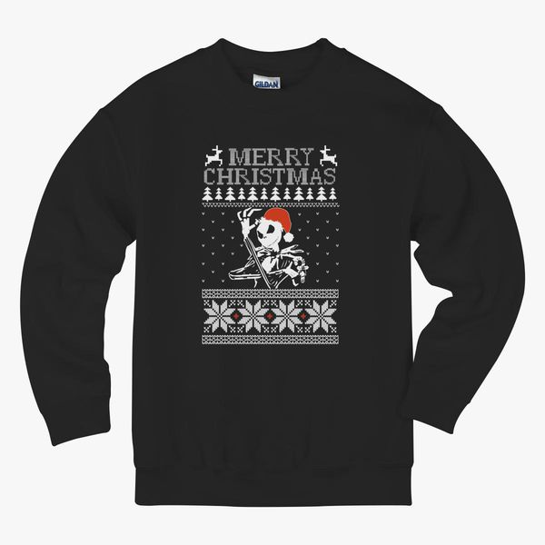 Jack Skellington Ugly Christmas Sweater Kids Sweatshirt Kidozicom