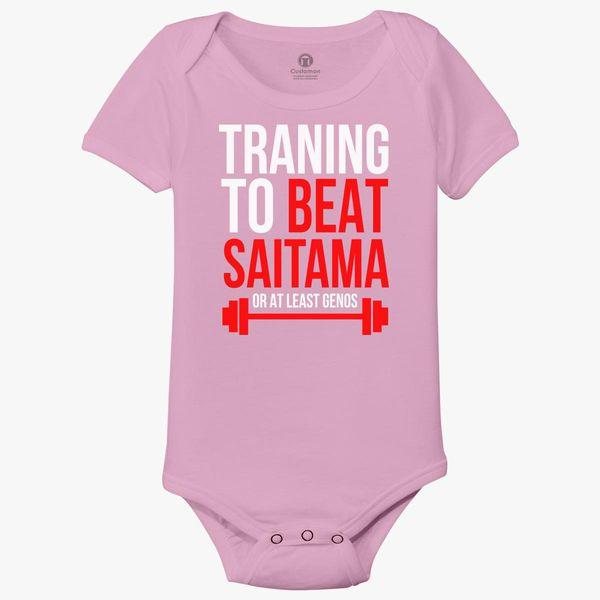 Saitama Training Quote - Training to beat saitama Baby Onesies   Kidozi.com