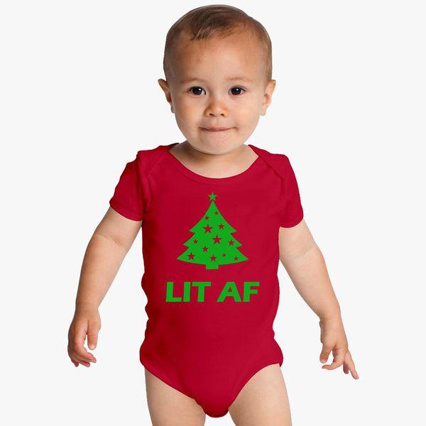 85994293df5 Lit AF Christmas Tree Baby Onesies