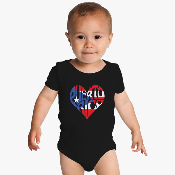 Puerto Rico Flag Rooster Printed Newborn Baby One-Piece Suit Long Sleeve Pajamas Black