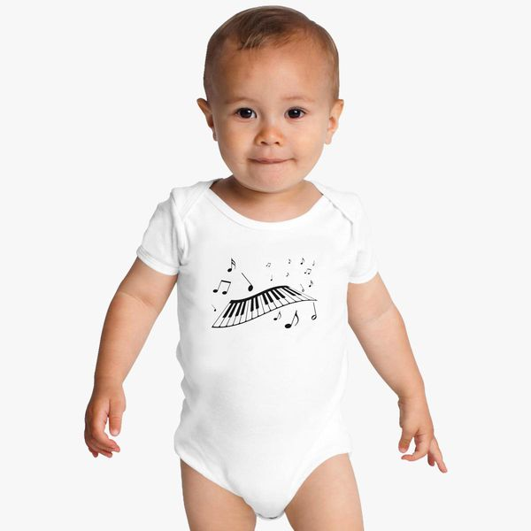 a0bb2878 Piano Keyboard Music Notes Beat it Video Baby Onesies | Kidozi.com