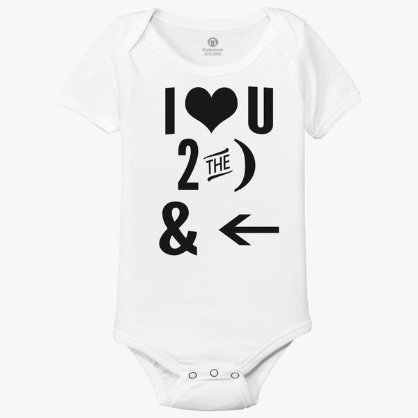 I Love You to The Moon and Back Smalls Baby Onesie,Infant Bodysuit Black
